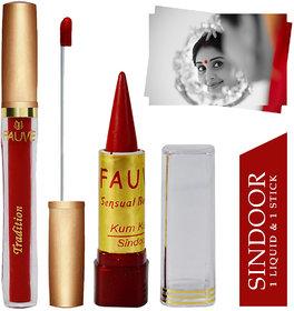 Fauve Waterproof & Long Lasting Liquid & Stick Sindoor, Red, 7ml+3g, Pack of 2