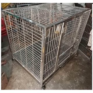 Dog cage in Stainless Steel 48 inch - Good for All Large Breed - Strong  Heavy with Plastic Flooring mat and Heavy Tray