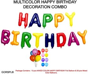 GORSPL SOLID MULTI COLOR HAPPY BIRTHDAY FOIL BALLOON COMBO SET OF 63 PCS