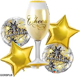 GORSPL PRINTED GOLDEN CHEEERS GLASS CONGRATS FOIL BALLOON COMBO SET OF 5 PCS