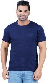 Manaac Men's Cotton Navy Round Neck T-Shirt (Pack Of 1)
