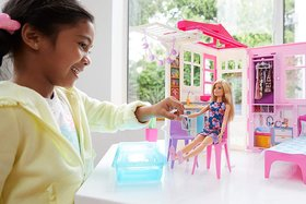 Barbie Doll  Doll house, Portable 1-Story Playset with Pool  Accessories
