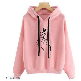 Raabta Fashion Women Baby Pink Heart Printed Hooded Sweatshirt