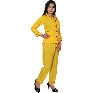 PMR Yellow  American Crepe Full Sleeves Night Suit Set For Women's