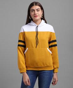 Raabta RWS-WNTR004 Mustard Sweatshirt With White Yoke And Sleeve Strips