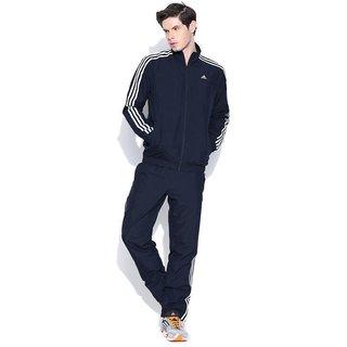 Adidas Men Navy Polyester Lycra Tracksuit