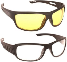 Bike Motorcycle Car Ridingreal Night Vision Quality Glasses (Day Night) Pack Of 2