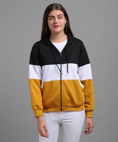 Raabta Fashion Women Black White & Mustard Colourblocked Hooded Pullover - RWT-I0