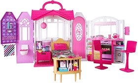 Barbie Glam Getaway Portable Dollhouse, 1 Story with Furniture, Accessories and Carrying Handle