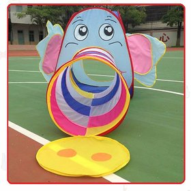2-in-1 Elephant Tunnel Pop-up Ball Pool Tent, Fold-able, Outdoor Tent House