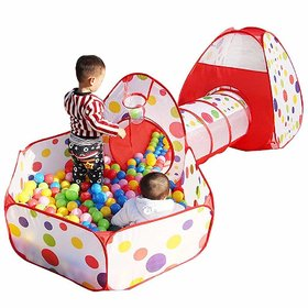 3-in-1 Foldable Tunnel Ball Pool Outdoor Tent House Multicolour (Balls not Included)