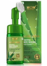 WOW Skin Science Aloe Vera Foaming Face Wash With Built-In Face Brush For Deep Cleansing - No Parabens, Sulphate, Silico