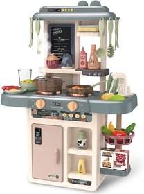 Little Kitchen Play Set, Kids Play Kitchen with Realistic Lights  Sounds, Simulation of Spray, Play Sink with Running W