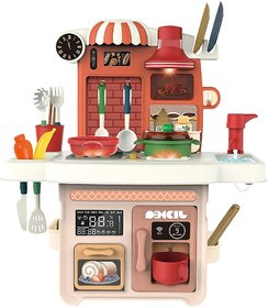 Play Kitchen Set with Music and Lights, Play Sink with Running Water, Play Cooking Stove, Cookware Playset, Play Oven,