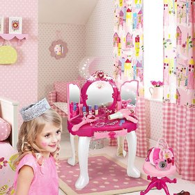 Princess Girls Vanity Table with Fairy Infrared Control and MP3 Music Playing, Princess Dressing Makeup Table