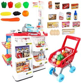 32 Piece Cash Supermarket Playset with Working Scanner Register Shopping Cart Play Money Pretend Play Set Toys