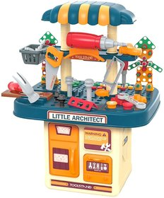 246 PCs Kids Toddlers Toy Tool Bench Set for 2 3 4 Year Old Boys, 2 in 1 Kids Construction Toy Workbench with Building