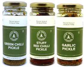 True Indian Foods Green Chilli, Red Chilli & Garlic Green Chilli, Red Chilli, Garlic Pickle (600 g, Pack of3)