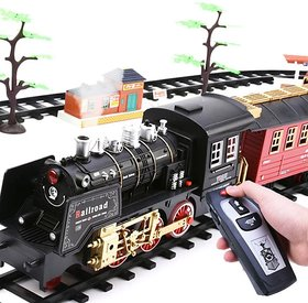 New Electric Train Set RC Trains Toy Railway Remote Control Electric Rail Car Steam Train Children's Electric Railway