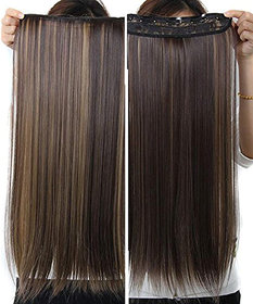 Wonder Choice 24 Inches Long Golden Highlight 5 Clip In Hair Extension For Women and Girls