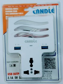 2 USB FAST CHARGING SLOT WITH 2 MOBILE PHONE HOLDER WITH UNIVERSAL CONVERSION MULTI PLUG WITH FAST CHARGING DATA CABLE