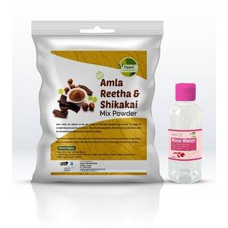 Natural Amla, Reetha, Shikakai Mix Powder Hair Pack Safe for Reducing Hair Fall 200 gm FREE Rose Water worth Rs.100
