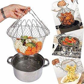 Original Foldable 12 in 1 Chef Basket Kitchen Mesh Strainer Steam, Rinse  Strain, Deep Fry