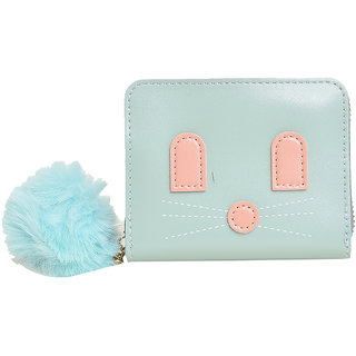 Small fold and Zipper Leather Wallet with cat face