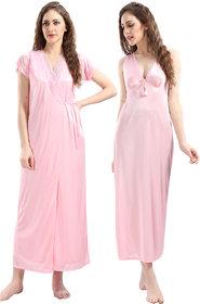 Juliana Dream Women's Satin Baby Pink Solid Nightwear
