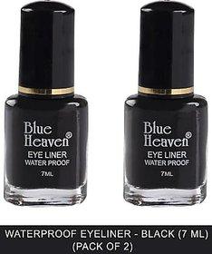 Blue Heaven Water Proof Regular Eyeliner - Black 7 ml  (Black) (Pack of 2)