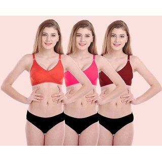 Fashion Comfortz Bra & Panty Set Self Design (Assorted Color)
