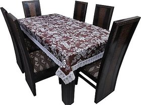 Dining Table Cover Brown And Multicolored Plastic