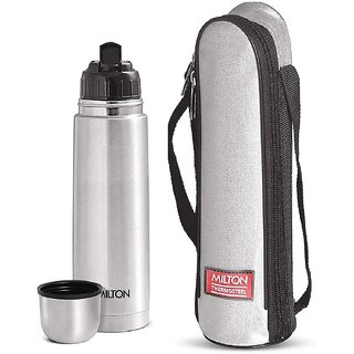 Milton Thermosteel 24 Hours Hot and Cold Water Bottle, (1000 ml, Silver)