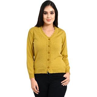 Ogarti woollen full sleeve V neck Mustard colour  Women's  Cardigan
