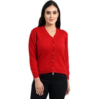 Ogarti woollen full sleeve V neck Red Colour Women's  Cardigan