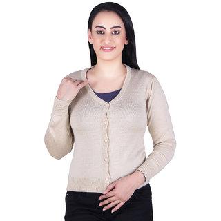 Ogarti woollen full sleeve V neck Camel Colour Colour Women's  Cardigan