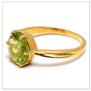 Peridot Stone 9.25 Ratti Lab Certified Punchdhatu Gold Plated Ring By Ratan Bazaar