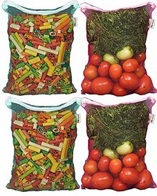 Earthy Fab vegetable storage bags For fridge, Washable, Reusable, Multipurpose Refrigerator Bags. 27X33 cm, Pack of 4