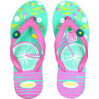 Polita Women's Rubberized EVA Flip-Flops and House Slippers (F30 Pastel Green Pink)