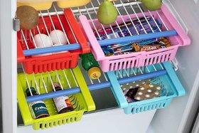 Mapon Multipurpose Plastic Fridge Storage Saver Rack Sliding Drawers Set of 2