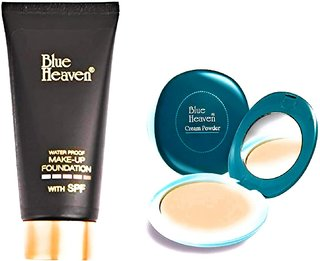 Blue Heaven Combo of Green Compact and Makeup Foundation