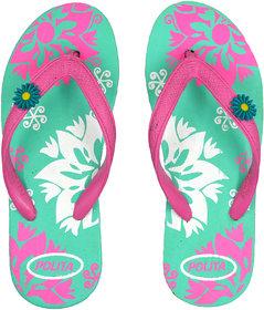 Polita Women's Rubberized EVA Flip-Flops and House Slippers ( Floret Pastel Green Pink White F37 )