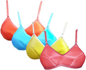 women ( pack of 4 ) high quilty  padded multicolor saturn lycara  bra (Design n color may Differ)