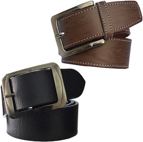 Sunshopping mens brown and black leatherite needle pin point buckle belt (combo)