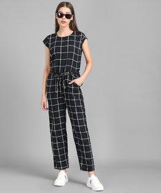 Vivient Women Black Check Front Knot Printed Jumpsuits