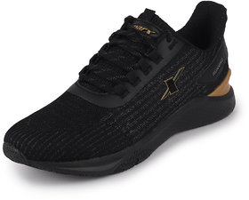 Sparx Men's Black/Gold Sports Lace Up Running Shoes