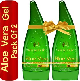 Newish Pure Aloe Vera Gel Combo for Face, Skin  Hair Set of 2 (130 ml Each)