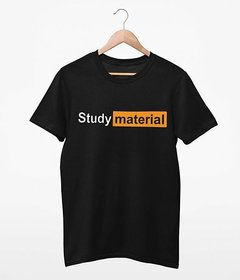 Stoovs Study Material Black Round Neck T-Shirt For Men