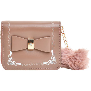 Women's Small Leather Wallet  with bow tie style