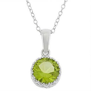 7 RATTI Silver Adjustable Peridot Pendant without chain by Ratan Bazaar